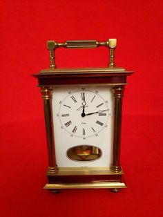 a38514ba3a2 RARE ANTIQUE GERMAN BRASS CASE CHIMING MECHANICAL CARRIAGE CLOCK.
