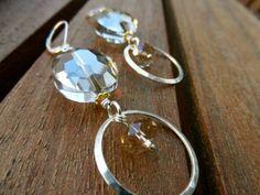 Faceted Crystal Mixed Metal Earrings