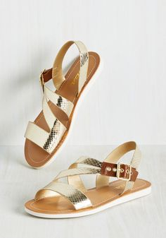 All Shiny and Newport Sandal. Whats more invigorating than a trot around the cliff walk? #gold #modcloth