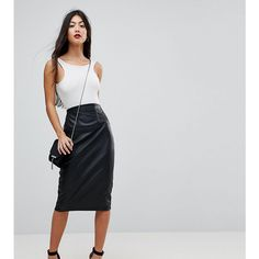 ASOS PETITE Sculpt Me Leather Look High Waist Pencil Skirt (150 PEN) ❤ liked on Polyvore featuring skirts, black, petite, short pencil skirt, petite skirts, high-waist skirt, high waisted skirts and high-waisted skirt
