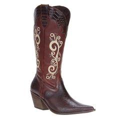 Bota Texana Feminina Castanho Bico Fino c  Rebites no Cano - West ... 37b96f760e8