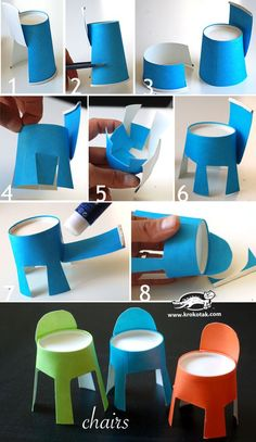 Simple Chair Making From Cup Bardaktan Basit Sandalye Yapımı Examples of colorful cute chair making activities using junipers now work on material. Paper Cup Crafts, Craft Stick Crafts, Preschool Crafts, Diy Paper, Diy Crafts For Kids, Art For Kids, Barbie Furniture, Dollhouse Furniture, Doll House Plans
