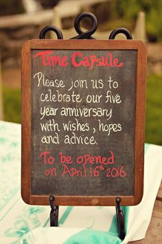 Time Capsule for a guest book.....open on your 5 year anniversary. Love it <3 Quirky Wedding, Diy Wedding, Wedding Pinterest, Love, Engagement Rings, Time Capsule, Fashion, Signage, Stationary