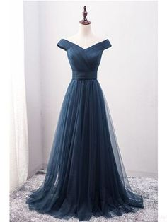 Off Shoulder prom dresses,V-neck Long Tulle evening dresses, Long Prom Dresses Evening Dresses #SIMIBridal #promdresses