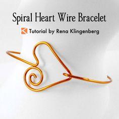 Spiral Heart Wire Bracelet Tutorial | Wire Heart Bracelet DIY | Wire Heart Jewelry DIY | Make Heart Bracelet