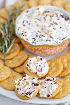 Cranberry and Rosemary Cheese Spread on Crackers