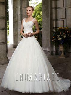 princesse robe mariage 2014 avec bretelle jupe tulle ferique uni0596 38900 - Morelle Mariage