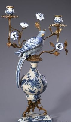 Bule & White Porcelain Parrots Candelabra,Home Decor Bronze Mouthed Candle Stick Porcelain Parrots Figurine.