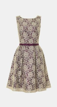 Untold Metallic lace fit `n` flare dress, Silver Metallic