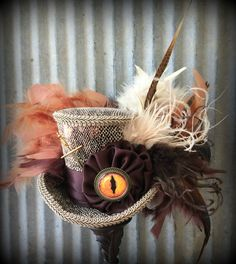 Snake Mini Top Hat Dragon Mini Top hat Brown Hat by ChikiBird