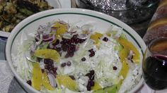 THIS WAS A FAVOURITE SALAD. CHINESE CABBAGE, RED ONION, FENNEL,KIWI FRUIT, ORANGE & POMEGRANATE, ALL DRESSED WITH OLIVE OIL, WHITE AND RED WINE AGED VINEGAR! SO FRESH! Check out our recipe below!