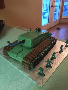 Army Call of Duty themed birthday cake Tank Camo Inside