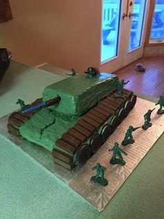 Army Call of Duty themed birthday cake Tank Camo Inside