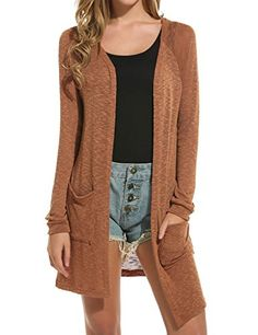 Women's Casual Open Front Long Sleeve Knitted Cardigan Sweater