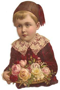 Victorian Chromo Flower Rose Boy Velvet Jacket Millinery Hat Scrap
