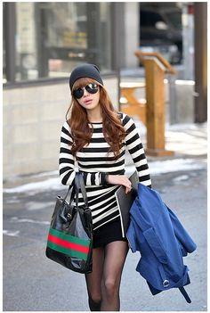 Stripe White asian t shirt