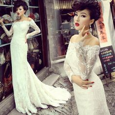 2013 sexy slit neckline lace fish tail wedding dress lace long sleeve wedding gown white long sleeve dress $140.00