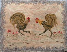 Hooked Rug ... Roosters ... Vintage ... American