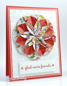 Dahlia Fold Flower - Picture Tutorial - Stamping With Tracy - Life Style Card Making Tutorials, Card Making Techniques, Making Ideas, Fancy Fold Cards, Folded Cards, Shaped Cards, Stamping Up Cards, Greeting Cards Handmade, Homemade Cards