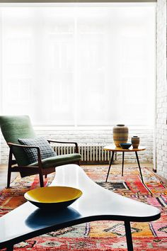 Graphic rug #living room #style #global #inspiration #interior #design