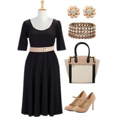 """Blush and black. Not too demure. Plus size style."" by hamtowntracey on Polyvore"