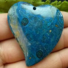 Blue Heart Ghost's Eye Jasper Gemstone Pendant by soyon on Etsy, $8.00