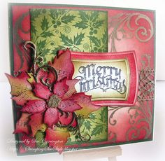 Stamping Sue Style: tattered poinsettia die & Stampers Anonymous sentiment - Mini Holidays set !http://stampingsuestyle.blogspot.com/2012/11/merry-christmas.html