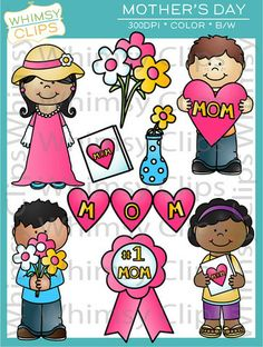 The Mother's Day clip art set features 4 kids as well as various pieces. The Mother's Day clip art set contains 18 image files, which includes 9 color images and 9 black & white images in png and jpg. All images are 300dpi for better scaling and printing. $