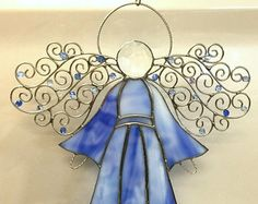 Stained Glass Suncatcher Angel  - Blue & White with Silver Swirl Wings and Glass Beads