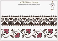Romanian traditional motifs - MOLDOVA, Neamt, Garcina Embroidery Sampler, Folk Embroidery, Cross Stitch Embroidery, Embroidery Patterns, Blackwork Patterns, Peyote Patterns, Beading Patterns, Cross Stitch Boards, Cross Stitch Alphabet
