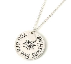 You Are My Sunshine Pendant Necklace Silver Plated Round Charm with Heart Charm #HandmadewithLove #Pendant