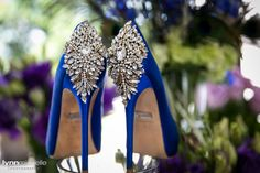 navy blue Manolo Blahnik wedding shoes with silver beads #shoeshot #blueweddingshoes  Photo by @lynnmichelle