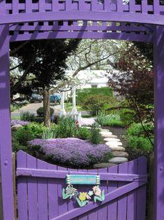Purple garden, colorful garden, shades of purple, purple hues, purple pla. Purple Garden, Colorful Garden, Garden Doors, Garden Gates, Purple Love, Shades Of Purple, Purple Lilac, My Secret Garden, Dream Garden