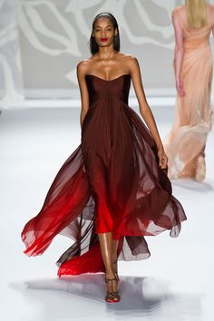 Monique Lhuillier, Spring 2014 Earth, Wind, and FIRE. Stunning ombre color combo, deep eggplant into red