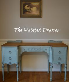 A vintage vanity gets a total makeover in General Finishes Persian Blue milk paint and has a new life in this before and after post! General Finishes Milk Paint, Vintage Vanity, Milk Paint, Painting Furniture Diy, Blue Milk, Diy Furniture, Painted Furniture, Small Tables, Painted Drawers
