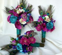 Fuschia Peacock Bouquet wedding accessories 2013 bridal trends bouquet,Teal, purple bridal party Idea faux wedding flowers Custom made. $150.00, via Etsy.