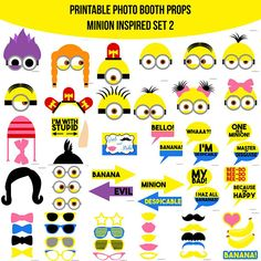 Instant Download Minion Inspired Printable Photo Booth Prop Set 2