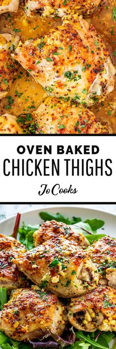 This Oven Baked Chicken Thighs recipe is a force to be reckoned with! Simple and deliciously baked chicken with a mustard, honey glaze - this dish is definitely going to be a top-contender in your weekly recipe planning! #ovenbaked #chickenthighs #thighs #chicken