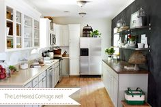 Nice mix of open cabinets, open shelves, closed cabinets in a kitchen that's a similar layout/size to ours.