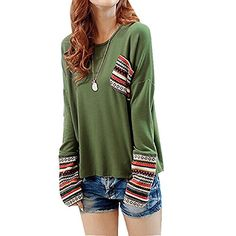 Suppion New Womens Long Sleeve Round Neck Plaid Checked Loose Shirt Blouse  Tops (Green) 8cc873e4cf