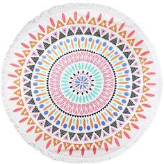 Beautiful Large Designer Print Round Beach Towels w/Tassel Fringe 3 Styles