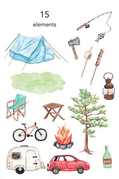 Camping Clipart, Travel Clipart, Watercolor Clipart, Watercolor Kit, Travel Illustration, Watercolor Illustration, Camping Drawing, Camping With Cats, Background Drawing