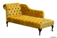Paloma Velvet Chaise Lounge - Gold The luxurious Paloma chaise lounge is a real statement piece. Hand crafted in the heart of England and upholstered in velvet, this chesterfi Velvet Chaise Lounge, Gold Sofa, Bespoke Design, Chesterfield, Sofas, Couch, Luxury, Furniture, Home Decor