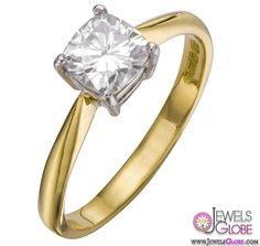 18 Carat Yellow Gold Cushion Cut Engagement Ring