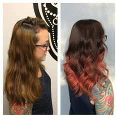 Pulled her natural color down and melted it to a really fun deep rose gold! ✨ #paigebrueck