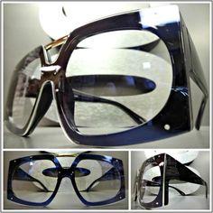 ec14eb6af1 OVERSIZED VINTAGE RETRO Style Clear Lens EYE GLASSES Large Black Fashion  Frame