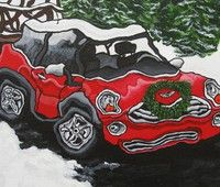 "'Red Christmas Mini', acrylic on canvas, 8"" x 10"", © 2012 - Private collection- Available in card form here: http://etsy.me/1ODJ0qV"