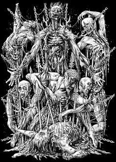 by Chris Moyen Death Metal, Metal Drawing, Metal Shirts, Satanic Art, Skeleton Art, Demon Art, Metal Artwork, Horror Art, Art Design