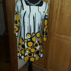 Adore Spring Dress NWOT   Silky, above knee, white with mustard/black circles. Adore Dresses Mini
