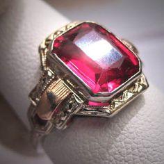 Antike Rubinring Vintage Art Deco Hochzeit Weissgold 6